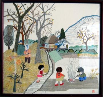 フランス刺繡「秋の里」
